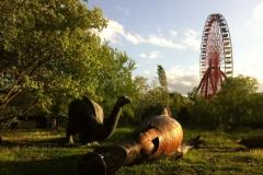 Le cimetière des dinosaures - Spreepark, parc d'attractions abandonné, Treptower Park, Berlin, Allemagne